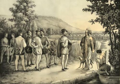 Jacques Cartier meets Native Canadians (unknown painter and location)